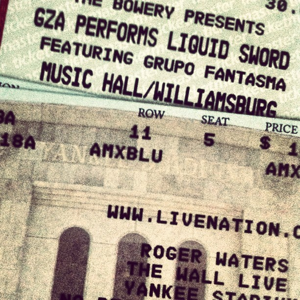 Got tickets to the #gza playing all of #liquidswords and #rogerwaters playing #thewall at #yankeesstadium. Seen the gza do liquid swords before and waters do dark side of the moon but never the wall. #unweak. #wu #wutang #shaolin #pinkfloyd #concert #live. Now just need waters to do #animals (Taken with instagram)