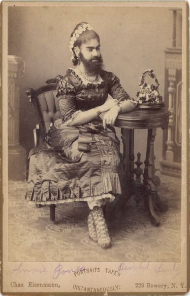 "ca. 1880-1890's, [carte de visite portrait of Annie Jones, ""Bearded Lady""], Charles Eisenmann via the Syracuse University Library, Ronald G. Becker Collection of Charles Eisenmann Photography"
