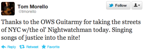 "Tom Morello tweets his gratitude to the OWS ""Guitarmy."""