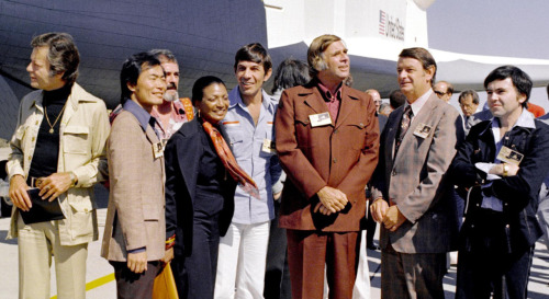 The Star Trek cast, minus William Shatner, meets the Space Shuttle Enterprise in 1976. NASA's prototype space shuttle was to have been named Constitution, butStar Trek fans show mounted a write-in campaign that led to it being named Enterprise. From the excellent new app The Space Shuttle Era: Stories from 30 Years of Exploration by The Smithsonian's Air & Space Museum. Some images are also available online.