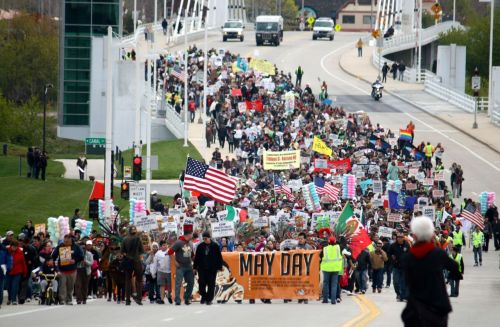 May Day march in Milwaukee today. In the past, some people were fired for taking the day off of work to attend the march, so the organizers decided to have it on Sunday instead of on May 1st this year so as to avoid that happening again.