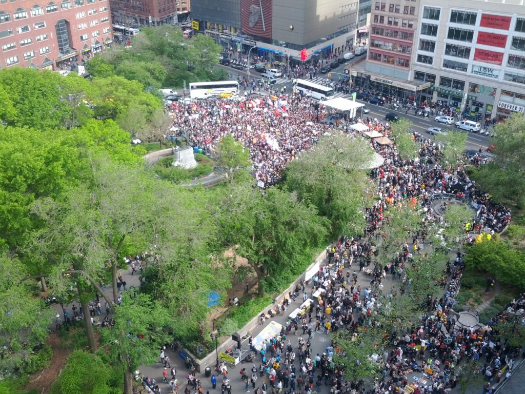 Union Square is PACKED right now. Or shall we say, occupied. Our live blog.