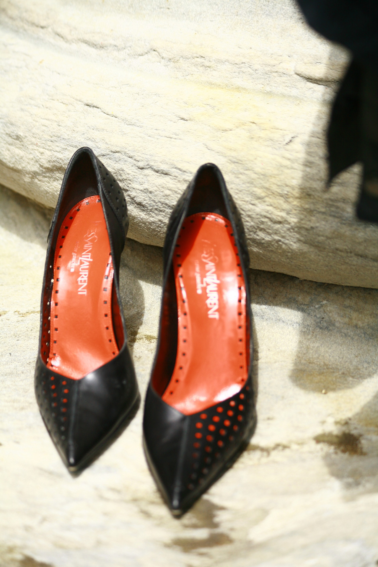 Vintage Yves Saint Laurent, perforated high heel pumps.