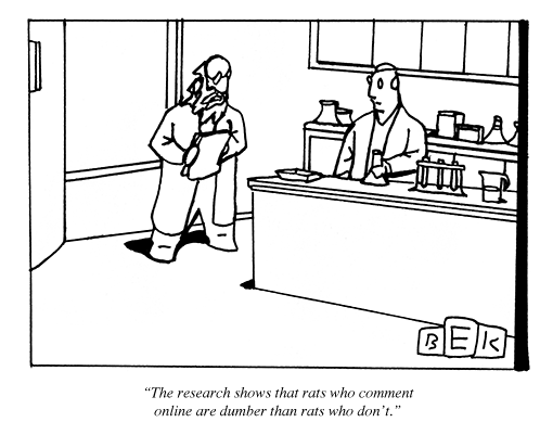 wired:  [via newyorker]:  Cartoon of the day. For more: http://nyr.kr/K0tNAy   What about rats who tweet?