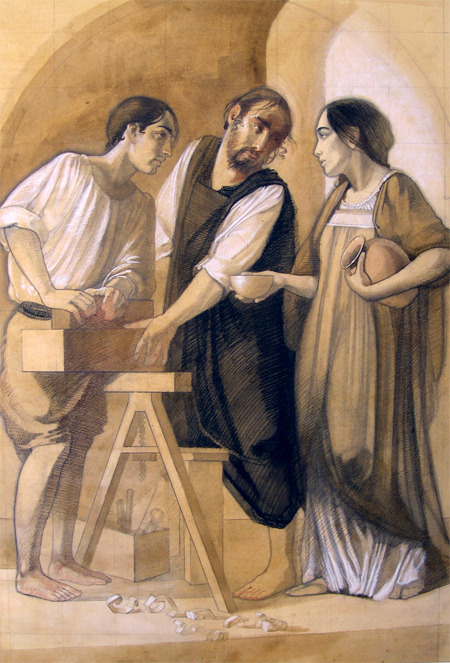 Here is a great piece of art to celebrate the Feast of St. Joseph the Worker and the month dedicated to Our Lady. [Picture:  The Holy Family by James Langley; another fine example of beautiful modern Catholic art]