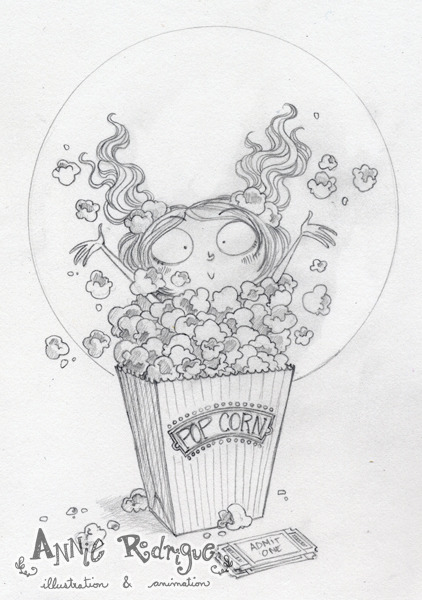 Popcorn Girl - Sketch Decided to do a little painting with one of the sketches I finished today. I think this design could actually work as a greeting card too!