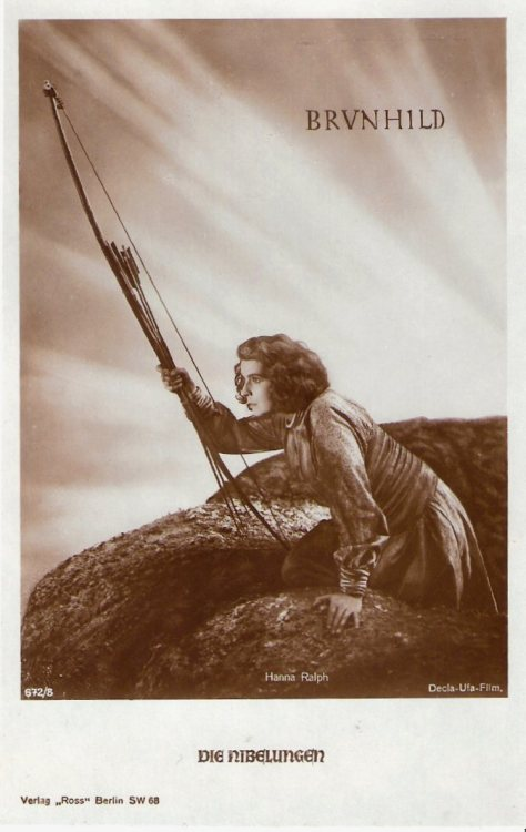 Die Nibelungen I: Brunhild (by Truus, Bob & Jan too!)  German postcard by Ross Verlag, Berlin, nr. 672/8, ca. 1924. Photo: Decla-Ufa-Film. Publicity still forDie Nibelungen: Siegfried (1924, Fritz Lang). Brunhild (Hanna Ralph).