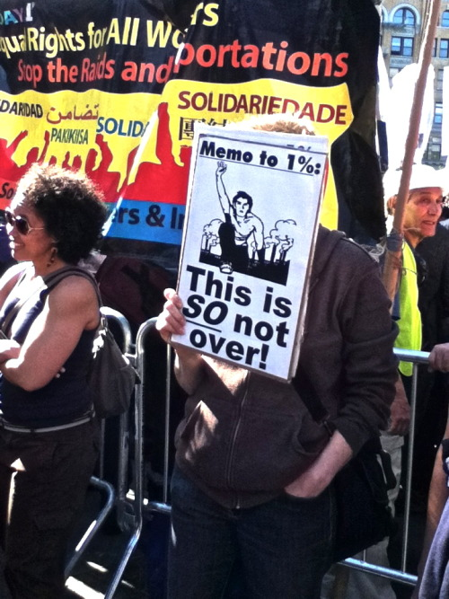 anarchistdiary:  Woman protesting in Union Square. May 1, 2012.