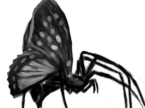 uisce-nathair:  i drew a spider with butterfly wings it can fly your worst nightmares are now true