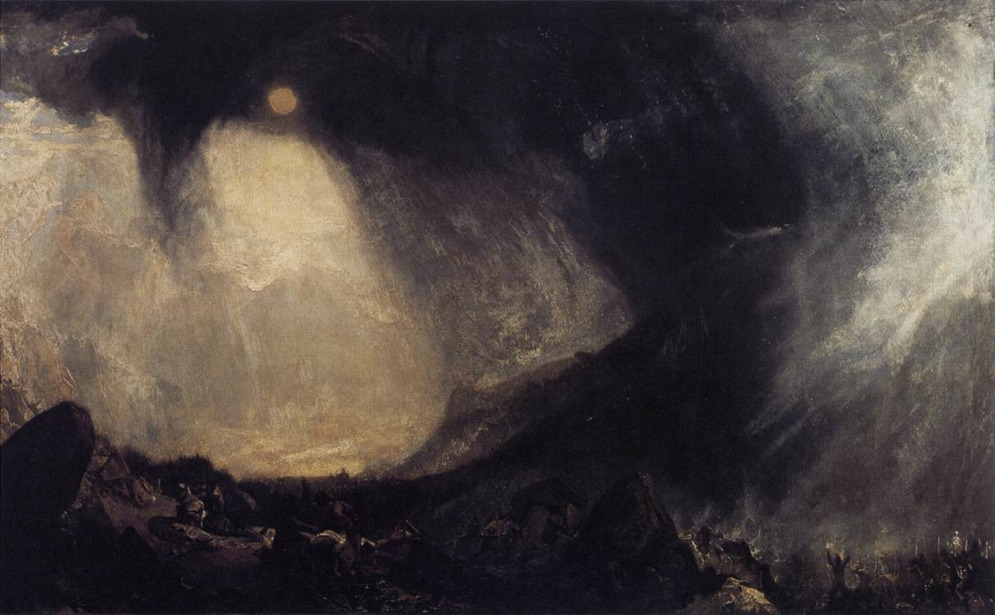 "fletchingarrows:   vos-sohm:  heliosrex: Turner, Hannibal's Army Crossing The Alps, 1812  It's rare to see an image that so completely captures the feeling of ""ominousness""   1812 Amazing"