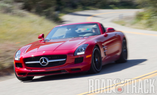 The 2012 Mercedes-Benz SLS AMG Roadster's huge torque and smooth surge to its 7200-rpm redline could easily spoil you for anything else. (Source: Road & Track)