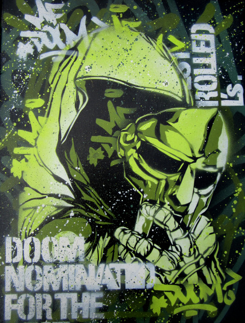 taylorlindgrenart:  MF Doom stencil/spray paint piece I created.  MF	DOOM
