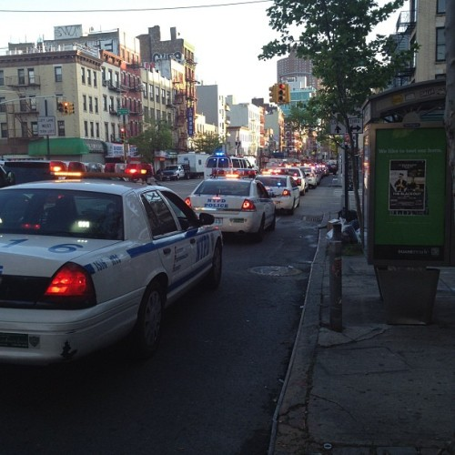 Police as far as the eye can see on bowery #occupywallstreet #cops #police  (Taken with instagram)