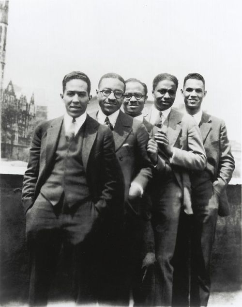 vintageblackglamour:  Langston Hughes, Charles S. Johnson, E. Franklin Frazier, Rudolph Fisher and Hubert Delany (brother of the Delaney Sisters) overlooking St. Nicholas Avenue in Harlem in the 1920s. Photo via the Schomburg Center.