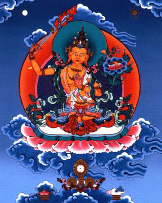 Manjusri, possibly the most important enlightened being next to Buddha Gautama in Mahayana Buddhism, is the personification of Transcendent Wisdom. His name names Sweet Splendor. His flaming swords slashes the fetters of ignorance, liberating all beings who channel his wisdom. Pretty cool guy, eh?