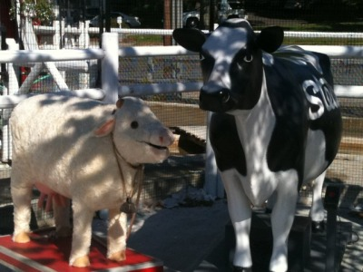 Milky White—now up in Westport, CT for the second leg of the Into the Woods production—visits a local…friend. Break a leg at WCP, Milky!