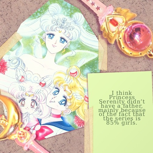 I think Princess Serenity didn't have a father, mainly because of the fact that the series is 85% girls. There seemed to be no mention of a King in the series or many men on the Moon Kingdom. (Photo Source)