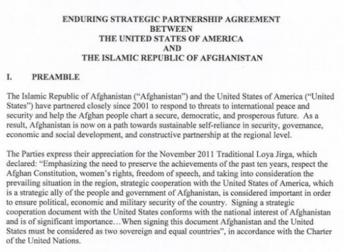 "Afghan War: What is the Enduring Strategic Partnership Agreement? It's a document with a pretty intimidating name, that's for sure. Obama's trip to Afghanistan early Wednesday local time seemed loaded with mystery — few knew he was there until he was actually there. He was there to sign a document that many watching the news had no idea existed until today. And the document itself is the definition of how a long-standing war will finally end, thirteen years after it started — at least as far as combat troops go. This document, just eight pages, was so important that the White House had to release a fact sheet to explain it to the average joe. What does it mean to you, anyway? Here are three things you should take from the Enduring Strategic Partnership Agreement: one The U.S. government will continue to help the Afghan government train its security forces even after combat troops leave the country in 2014, with the goal of giving the entire region stability. two The U.S. will continue to fund security and development efforts in the country, but not by default — the president has to ask Congress for a new round of funding each year. three This effort goes both ways — Afghanistan is on the hook to improve the transparency and effectiveness of the government, while respecting the civil rights of its people. source » So what's the end date? The end of the document says this clearly: ""It shall remain in force until the end of 2024."" (It's worth noting that this isn't the first time this end date has been bandied about.) Which means, at that rate, the events around the Afghan War will be completely said and done 23 years after it started, though combat troops should be long gone. Hopefully. Follow ShortFormBlog: Tumblr, Twitter, Facebook"