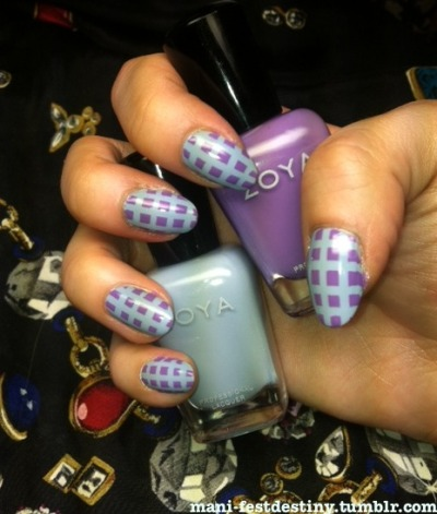 mani-festdestiny:  THANK YOU VICTORIA! Victoria had a short and sweet Zoya giveaway on her tumblr and I was the lucky winner (so, so lucky!) I've never tried Zoya Professional Lacquer before, and I'm very pleased with Kristen and Malia. I figured a tape mani was a quick and easy way to get them both on my nails!! I'm so thankful for the amazing and talented Victoria for these two new automatic favorites! If you guys aren't already following her then get familiar!  I'm glad you like them! & these colors look beautiful together