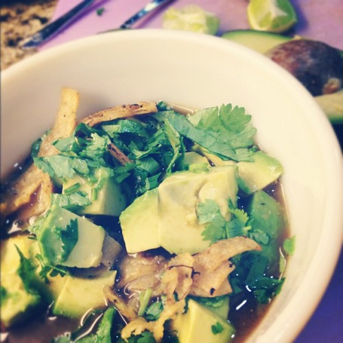 Tortilla soup never gets old! Loaded with fresh veggies from the farmers market, tons of #kale & avocado! #vegan  #whatveganseat #vegansofig recipe is on the blog!  (Taken with Instagram at Http://www.ahealthycraving.com)