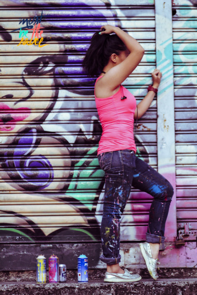 Drip street and artsy style chutzpah by snaggin a neon-pink top and a pair of psychedelic paint-splattered skinnies. Amp this look with a bangin pony and shuffle in comfy kicks!  Must be the oh-so-delish pink!