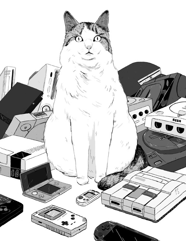 A chubby cat and a bunch of video game consoles, drawn by Kyle Fewell for Matt Hawkins' long delayed but still anticipated FORT90ZINE4ANSWER. Fewell posted a similar awesome piece last week, but I didn't get a chance to share it here before it blew up on Tumblr like whoa. Look at this cat. Find: Nintendo DS/3DS release dates, discounts, & more See also: More fanart [VIa Kyle Fewell]