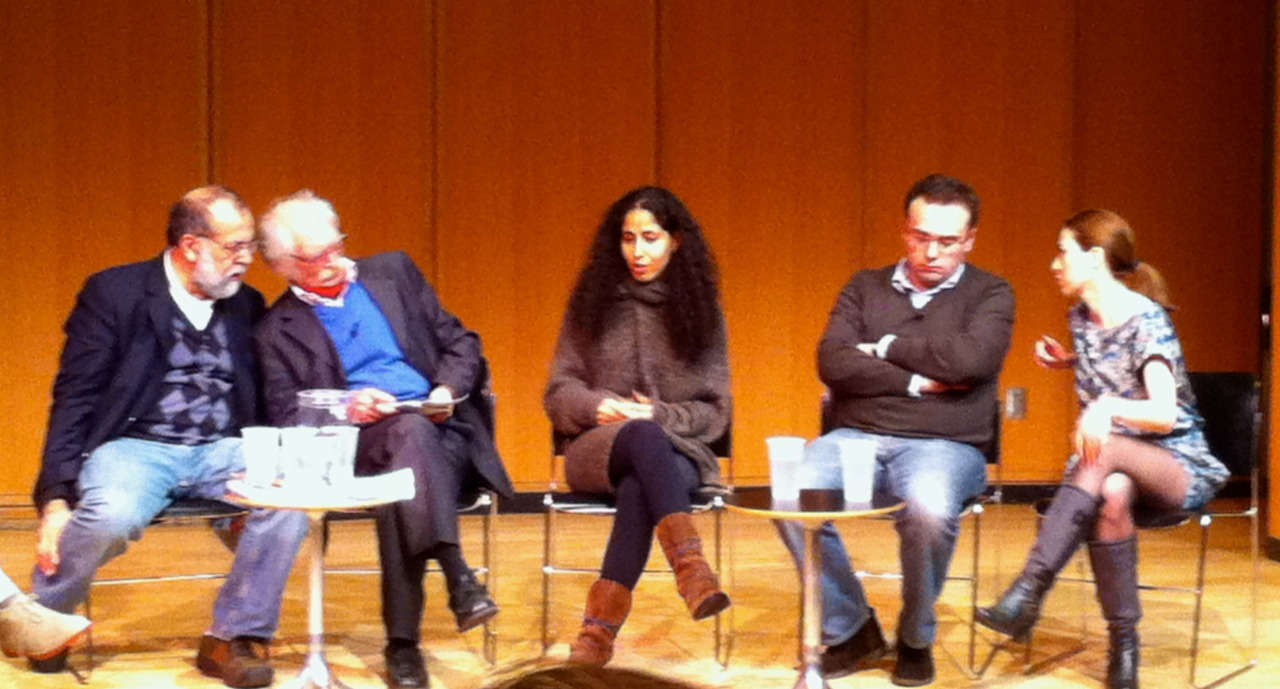 """Revolutionary Plays"" panelists Hamid Dabashi, Mahmoud Dowlatabadi, Laila Soliman, Lasha Bugadze and Irina Gachechiladze. With moderator Mike Daisey, and appearances by The Civilians."