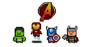 pixelblock:  Avengers, Assemble ! The original four founding members of the legendary Marvel Supergroup have been derezzed to incredibly tiny pixel proportions for your retro styled enjoyment !  From left to right : The Incredible Hulk, The Iron Man, Captain America and The Mighty Thor !  *Artist's Note* I really am quite proud of that Avenger's symbol. It's only 24 pixels tall !