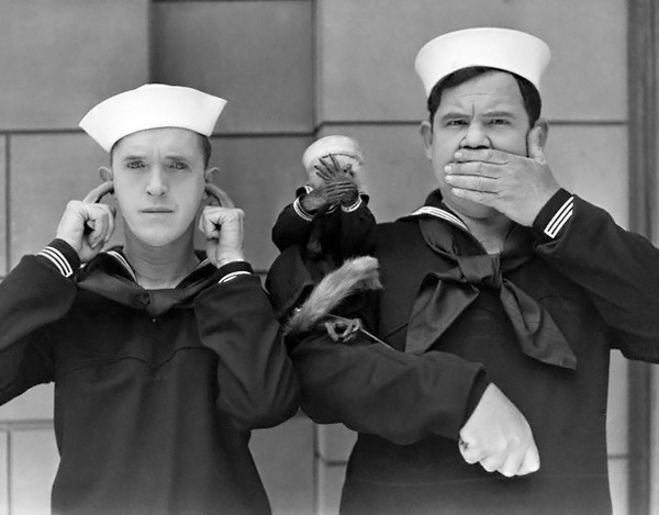 "sailorgil:  "" A Monkey Named Mary With Two Sailors ""  ….  Stan Laurel and Oliver Hardy with Mary."