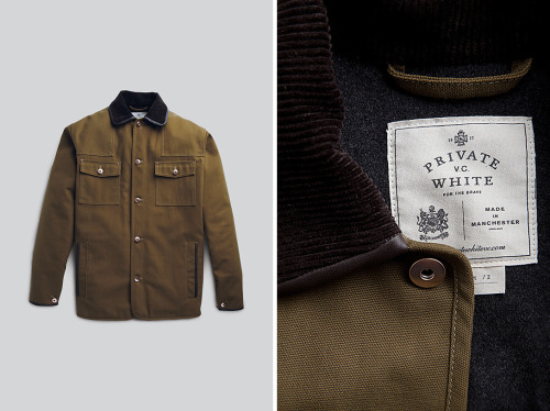 "anchordivision:  Private White V.C - Chippy Jacket Manchester based Private White V.C delivers their Chippy jacket for the guys looking for an outerwear garment with some locally-made roots. The outer on the Chippy is made from 100% soft cotton ""woven in Lancashire"" at local to the factory. Lamb nappa fleece is sourced from the Yorkshire Dales. A built tough garment worth a hard wear wherever you reside. Find it online or at the Private White V.C store at 55 Lambs Conduit Street in London."