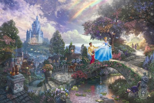 Cinderella Wishes Upon A Dream by Thomas Kinkade. If you come across the real painting. Look closer. You see Pinocchio and other disney characters too.