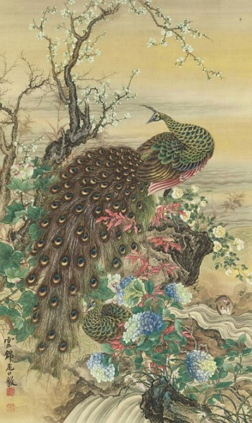 stilllifequickheart:  Oguchi Unkin Peafowl and Flowers 19th century