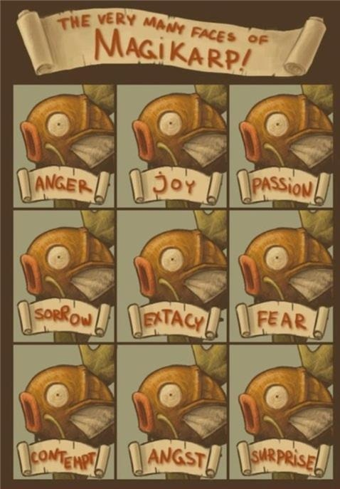 thefluffysheep:  The many faces of Magikarp.   This just proves that Kristen Stewart is a Magikarp damn