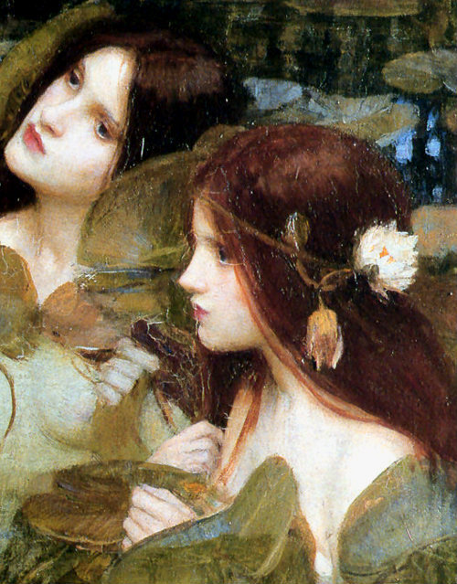 artemisdreaming:  Hylas and the Nymphs detail, 1896  John William Waterhouse  .    .    .  When the ship of the Argonauts reached the island of Cios, Hylas, the young and handsome companion of Hercules, was sent ashore in search of water. He discovered a fountain, but the nymphs of the place were so enchanted by his beauty that they pulled him to the depths of their watery abode, and in spite of the cries of Hercules which made the shores reverberate with the name Hylas, the young man was never seen again.  The Magazine of Art thought this painting equalled 'the highest qualities of Sir Edward Burne-Jones at his most delightful period … a spirit of real poetry pervades the canvas'.  The Art Journal thought it 'a combination of the better attributes and intentions of Leighton and Burne-Jones.'  The poet Ezra Pound referred to this painting as 'Foreboding in the Pool'.