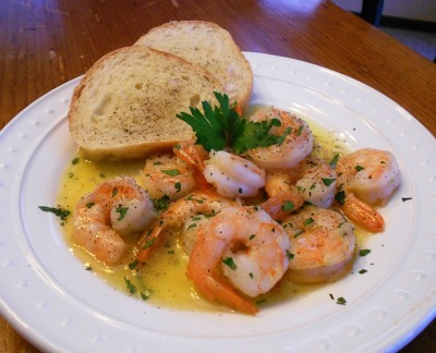 prettygirlfood:  Gambas al Ajillo with homemade rustic bread. Submitted by: chucksfoodpics