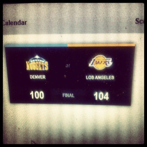 Coz they're still not done yet. 2-0 now. #Lakers (Taken with instagram)