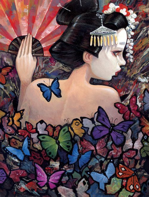 "jasinskiart:  ""Madame Butterfly"" A piece for my show with Matt Linares at Distinction Art Gallery. The show is entitled ""It All Comes Rushing In"" and opens May 12th."