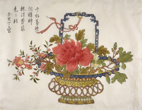 Ding Family of the Jinchang Pavillion A Basket of Flowers 1690