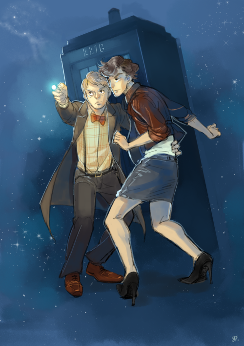 greenparcel:  art trade with chatonblanc! :D who asked for..wholock…. wait this makes perfect sense because John is like literally a doctor and Sherlock is his companion because i will take every chances i get to draw him in drag of reasons. oh god idk i'm sorry i can never draw anything seriously but i hope you still like it????????