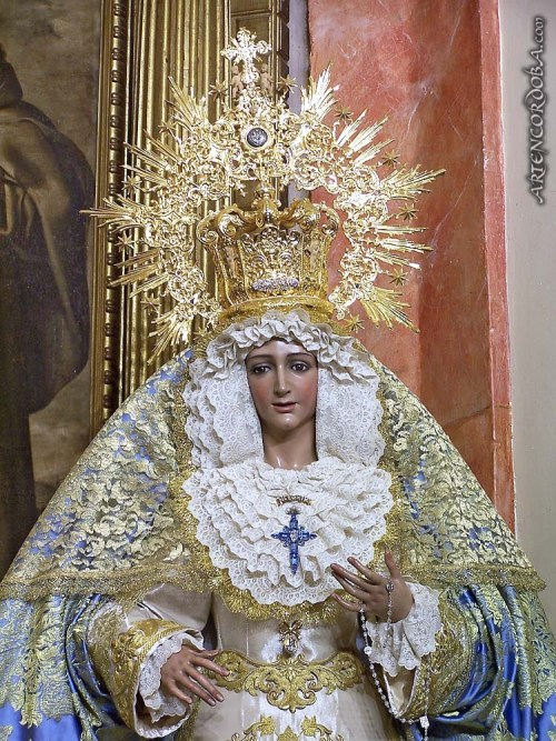 From Our Lady of Sorrows to La Virgen de la Alegria (The Virgin of Joy).  I love seeing our Mama smile; she looks so beautiful. [Photo:  from Artencodoba]