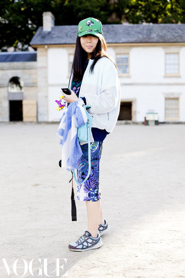 vogueaustralia:  Susie Lau of Style Bubble wears Karen Walker cap, Lucas Nascimento jacket, Magdalena Velevska dress, Nike shoes and Boyy bag.  Image by Candice Lake