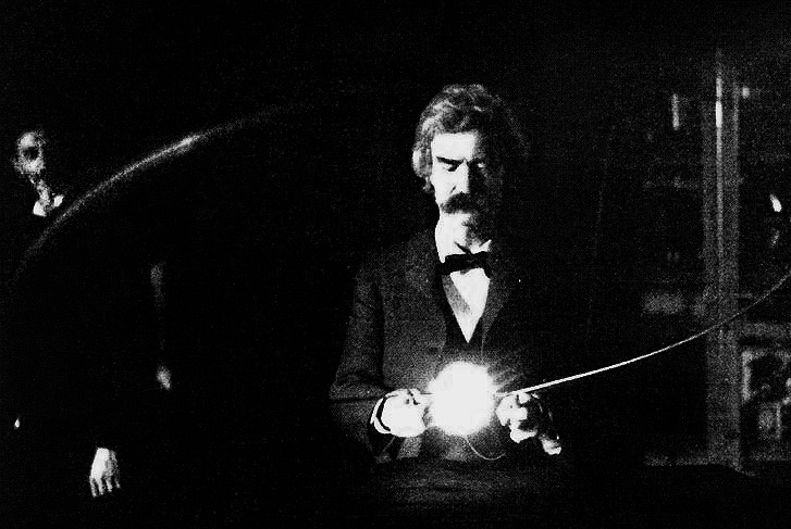 wow. bartleby-company:  Mark Twain in the lab of Nikola Tesla, spring of 1894.