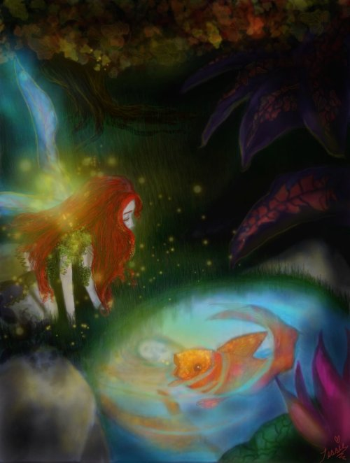"illustratosphere:   ""The Fairy and the Gold Fish"" by tessieart28"