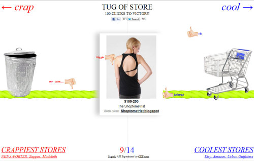 Tug of Store lets users decide whether a  product is cool or not soo cool. Thumbs up?