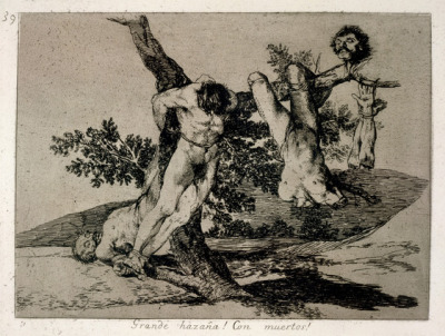 Francisco de Goya, Grande hazaña! Con muertos! (An heroic feat! With dead men!), from the series Los Desastros de la Guerra (The Disasters of War), 1810-20 (London, England, The British Museum)  Goya's 82 Disasters of War prints, on which he worked from 1810 until 1820, were etched from red chalk preparatory drawings. They record moments during the Peninsular War and its aftermath while compellingly projecting universally appalling horrors. The initial scenes illustrate the death and destruction Goya witnessed when called to Saragossa in October 1808, each print bearing a succinct comment […]. [The] Disasters could hardly be published while Ferdinand and the Inquisition ruled; they remained unpublished until 1863. — Oxford Art Online