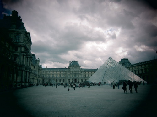 strolling in Paris to the Louvre Pyramid