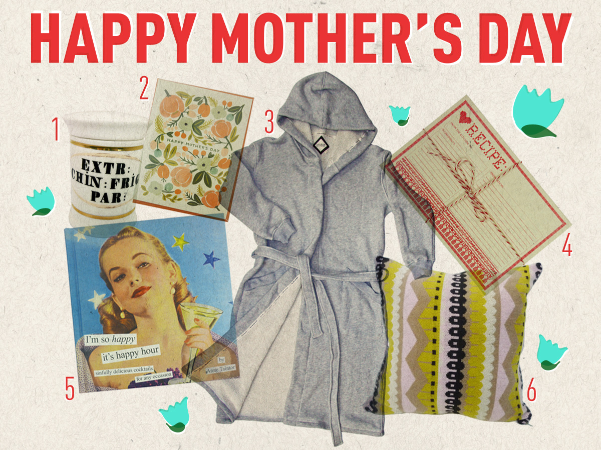 "Happy Mom's Day! Celebrate your special lady this Mother's Day by showering her with the perfect gift. From locally-designed Shared History Robes to Donna Wilson Lambswool pillows, the Drake General Store has you covered. 1. Small Apothecary Bottle 2. Botanical Mother's Day Card 3. Shared History Bathrobe 4. Recipe Cards 5. ""I'm So Happy It's Happy Hour"" Cocktail Book 6. Hoofdi Pillow"