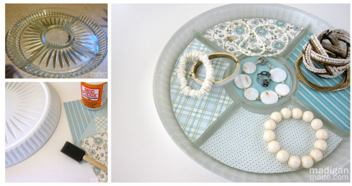 DIY Upcycled Serving Tray Turned Jewelry Display