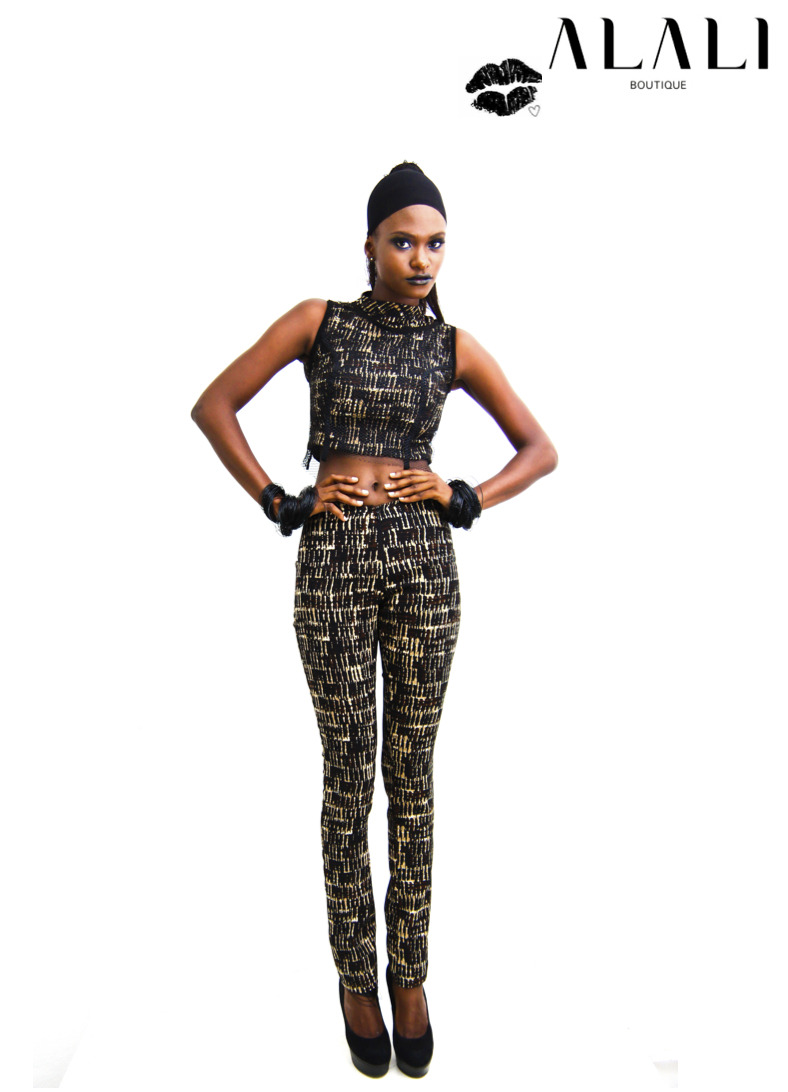 JUNGLE PATTERNED PANTS- N9000 Skinny patterned pants JUNGLE CROPPED VEST AND CROPPED MESH VEST- N8,000