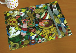 kayleigh-doughty:  New 3D LENTICULAR EFFECT Placemats Illustrated by Yours Truly now available to purchase here: http://www.meninos.us/products.php?product=Tasty-Placemat